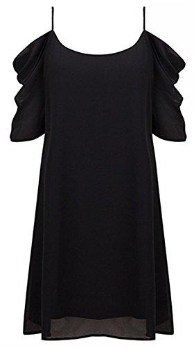 NEWISTAR Damen Chiffon Floral Kleid Tops Sexy Cut Out kalte Schulter A-Linie Spaghetti Straps Tunic Top Pure Black