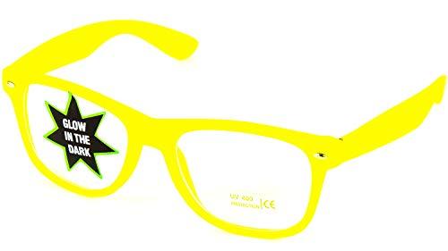 Nerd Clear Klarglas Brille Glow in The Dark | Party Brille im Klassischen Design Unisex: Gelb