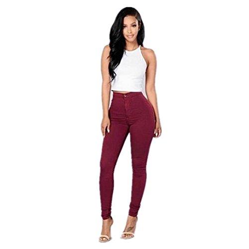 Pantaloni da donna,kword jeans donna denim multi colori ragazza casual jeans pantaloni (rosso, m)