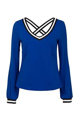Promiss Damen Top Einfarbig Langarm V-Ausschnitt Tailliert Apparel Top - Knit T-Cross, Kobalt, XXL