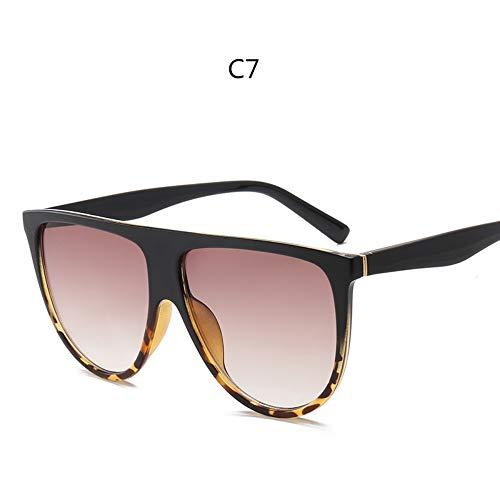 ZHOUYF Sonnenbrille Fahrerbrille Kim Kardashian Sonnenbrillen Vintage Retro Flache Oberseite Thin Shadow Sonnenbrille Quadrat Pilot Luxus Designer Große Schwarze Sonnenbrille, G