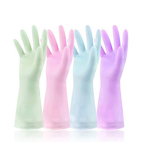 4Paarwasserdichte Gummihandschuhe für Küche, Putzen, Spülen, Wäsche (Größe M, 4kräftige Farben)