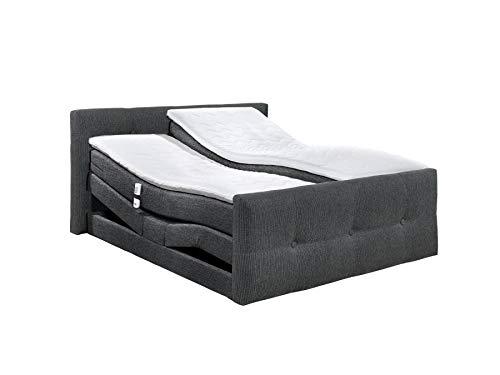 Schlichter® Boxspringbett Malaga, Motor, Stoff, schwarz/anthrazit, Tonnentaschen-Federkern, 180x200 cm