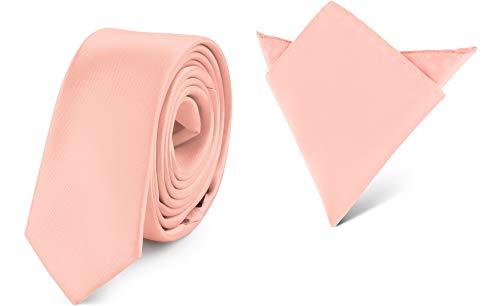 Ladeheid Herren Schmale Krawatte & Einstecktuch Set SP/P (150cm x 5cm, 22cm x 22cm, Lachs) -