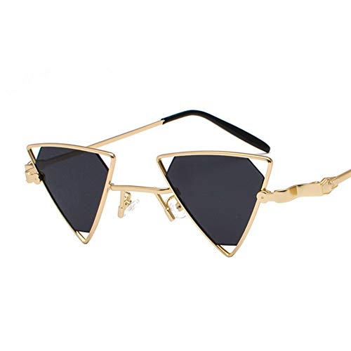 BCD Damen-Sonnenbrille Dreieck Hohlmetall-Punk-Wind Eine Piece Farbe transparente Sonnenbrille Männer und Frauen Modelle uv400,05