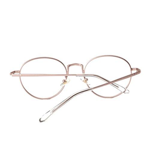 Fenteer Vintage Runde Brillenfassung Metallrahmen Brille Gläser Durchsichtig Nerdbrille - Rose, one...