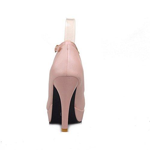 BalaMasa da donna, con borchie sul tallone con brillantini, tacco Electroplate Imitated pompe-Scarpe in pelle LightBlue