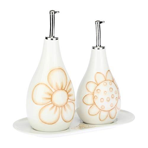 THUN - Set Olio e Aceto in Porcellana con Vassoio - Linea Elegance - 22 cm h