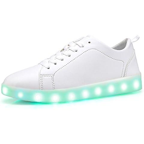 DoGeek Zapatos Led 7 Color USB Carga LED Luz Glow Luminosos Zappatillas Led Deportivos Para Hombres Mujeres (Elegir 1 tamaño más