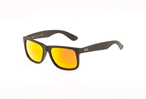 Ray-Ban 0RB4165 Justin Classic Sonnenbrille Large (Herstellergröße: 55), Schwarz (Gestell: schwarz, Gläserfarbe: rot verspiegelt 622/6Q)