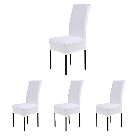 CosyVie Lot de 4 PCS Housses Couvertures de Chaise Extensibles et Lavables pour Protection Chaise Salle à Manger Blanches (4PCS, Blanches)