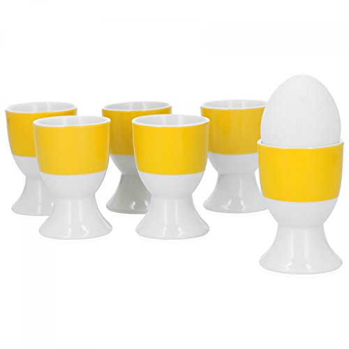Van Well 6er Set Eierbecher Serie Vario Porzellan - Farbe wählbar, Farbe:gelb -