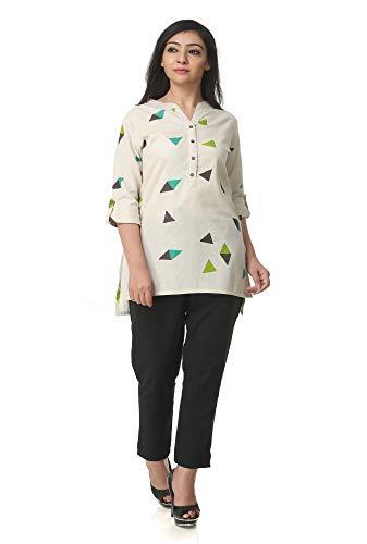 Pistaa's Women's Cotton Printed Short Top Kurti with Plus Size (Green, XXL)