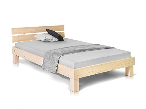 PUMBA Massivholzbett Holzbett Einzelbett Singlebett Bett Futonbett Einzelbett mit geteiltem Kopfteil, Made in Germany, 120x200 cm, natur