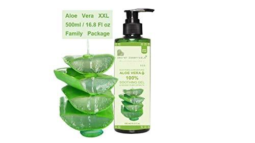 Aloe Vera Gel plus Bio Extracts, XXL 500ml Familienpackung - 100% Organische Feuchtigkeitscreme für Haut, Haare und Körper   Premium Qualität   Aloe Plus von Secret Essentials