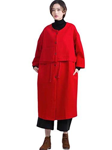 Vogstyle Femme Couleur Unie en Tricot Manches Longues en Vrac Pull-over Style-1 Rouge