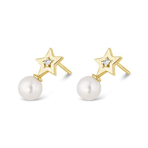 ❤ ️ Mille Amori Damen-Ohrringe 9 Karat (375) Gelbgold Diamant 0,03 Karat – Perlen 6.0-6.50 mm – Joy Collection
