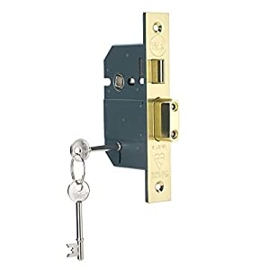 Yale B-BSSL-3.0-PB British Standard 5 Lever Mortice Sashlock, Boxed, Suitable for External Doors, Chrome Brass, 3 Inch/76 mm
