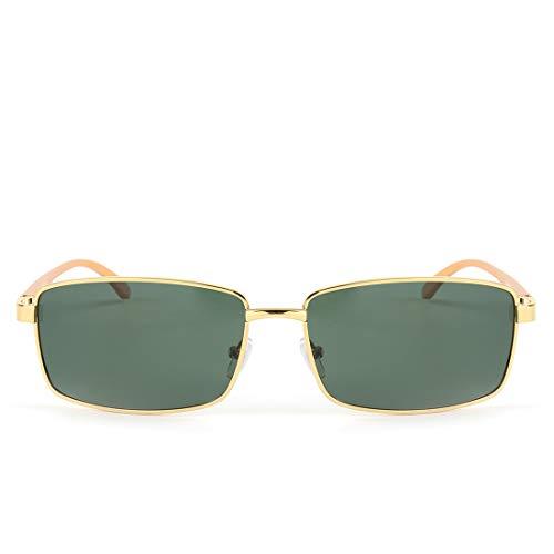 UICICI Herren Sonnenbrillen Polarized Sonnenbrillen UV 400 Schutz (Farbe : Gold Frame/Green Lens)