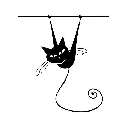 EbuyChX Kletterwand Katze Wandaufkleber für Kinderzimmer Glasfenster Home Decora SCHWARZ