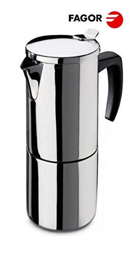 Fagor ETNA 10 T Induktion Espressokocher 10 Tassen, Spiegel-Polierter Edelstahl, Induktionsgeeignet,...