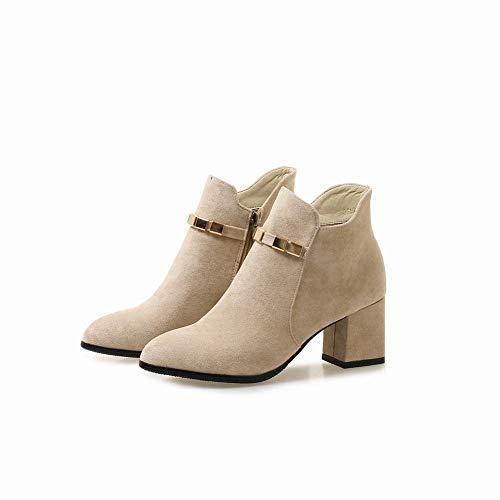 XQY Damenstiefel - Winter Warme Stiefel/High Heels 6Cm Weibliche Dicke Ferse Stiefel/England Wies Stiefel/Matte Leder 33-43,Polieren,33 -