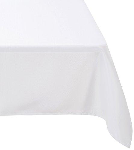 Douceur d'Intérieur 1720218, Tischdecke Rechteckige, 140 X 300 Cm, Essentiel, Polyester Unifarben, Weiss