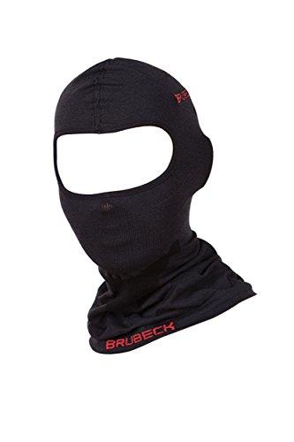 1. BRUBECK® KM10370 X-FACE Passamontagna | Donna | Uomo | Percentuale di lana Merino | Balaclava | Maschera da sci | Funzionale | Antibatterico, Dimensione:L - XL;Colore:Black