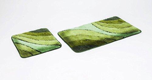2- teiliges Badematten Set, Wave grün ohne Ausschnitt