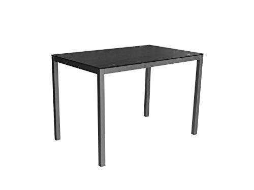 Eurosilla Mirror110 - Mesa para comedor o cocina, 110 x 70 x 75 cm. Estructura de acero y superficie de cristal color negro