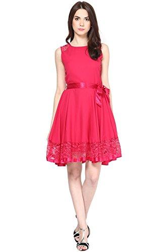 The Vanca Women's Lace Dress (DRF2728_Fuschia_L)