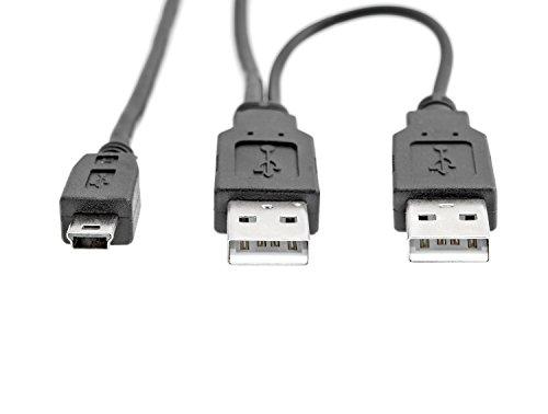 KnnX 28067 - USB 2.0 Dual-Power-Y 1m-Kabel - 2 x Typ A-Stecker an Mini-B-Stecker - liefert zusätzlichen Strom für externe Festplattenlaufwerke, DVD, CD, Blu-ray, wenn er an ein Fernsehgerät, eine Wii-Konsole, einen Computer, einen Laptop und ein anderes Gerät angeschlossen wird PC (Toshiba-laptop-energie-adapter)