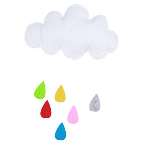 Fenteer Hängegirlanden Regentropfen Mond Wolke Kinderzummer Neujahr Party Home Zimmer Dekoration Fensterdeko - Weiß, Wie beschrieben