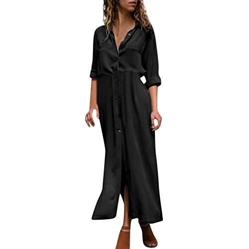 FeiBeauty Damen Volltonfarbe V-Ausschnitt Sexy Fashion Cardigan Langer Rock Jacke