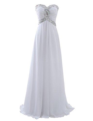 Erosebridal Schatz Brautjungfernkleid Lange Chiffon Abendkleider Ballkleid Weiß DE38