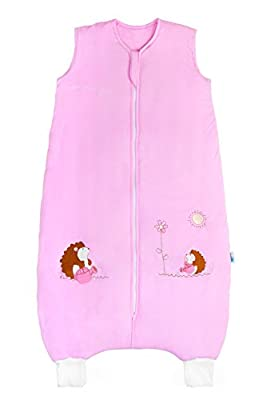 Saco de dormir de bambú para bebé con pies para el verano en 1 tog, erizo rosa, 18 – 24 meses/90 cm