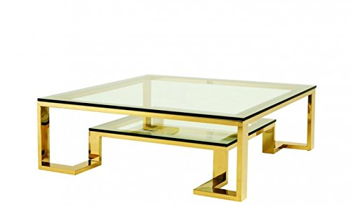 CASA PADRINO ART DECO LUXURY COFFEE TABLE GOLD 120 X 120 X H  40 CM - LIVING ROOM COFFEE TABLE - LUXURY HOTEL FURNITURE