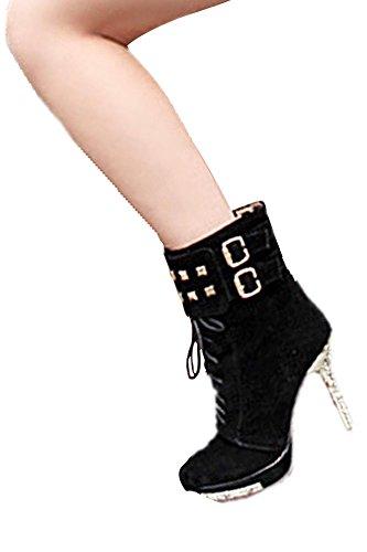 femmes Bottines - SODIAL(R)Bottines Sexy chaude de plate-forme Chaussures a talons hauts et fins Noir 36