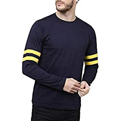 Stardom Men's Full Sleeve Round Neck Solid Cotton Tshirt (Large, Navy and Yellow)
