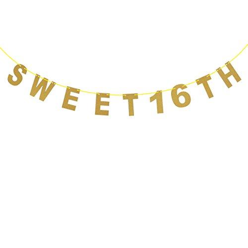 AMOSFUN Glitter Gold 16th Birthday Banner Sweet 16 TH für Partydekoration für den 16. Geburtstag