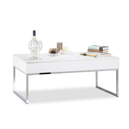Relaxdays Couchtisch Lift mit 2 Fächer, Tablett Klappsitz, Stauraum Wohnzimmertisch, HxBxT: 45,5 x 110 x 60 cm, weiß
