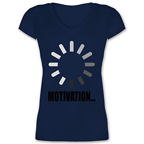 Nerds & Geeks - Lade Motivation. schwarz - M - Dunkelblau - XO1525 - Damen T-Shirt mit V-Ausschnitt