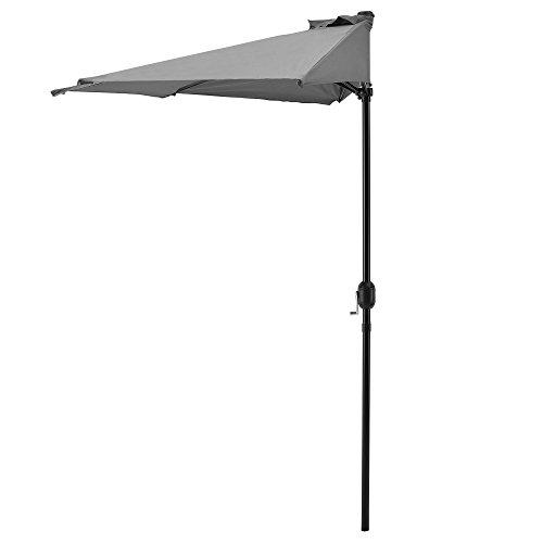 [casa.pro]®] Halb-Sonnenschirm 300x150x230cm Grau Kurbel-Schirm Marktschirm Gartenschirm Halbrund Balkon Halbschirm Balkonschirm