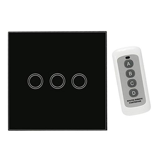 Sharplace 433mhz 1-3 Gang Wandschalter Lichtschalter Touch Schalter Buchse - Schwarz, 3 Gang