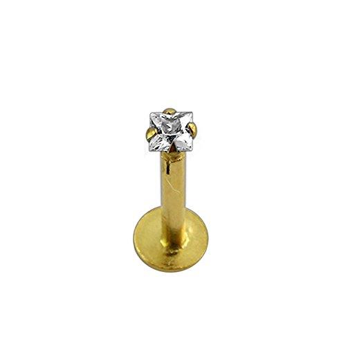 9K Solid Gelb Gold Klaue Set 2MM quadratisch CZ Stein internen Gewinde Top 16 Gauge Hollow Lippe Labret Tragus Bar Piercingschmuck