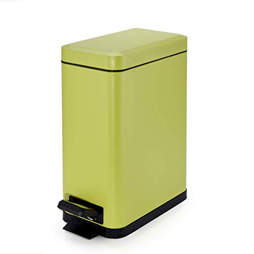 Wkkie 5 L Rechteckige Stahl rostfrei Treteimer,Abfalleimer Innerer Eimer Mit Soft Close Für büro, Badezimmer, Wohnzimmer und mehr Deco am-Grün 5L