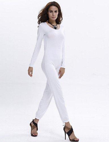 GSP-Combinaisons Aux femmes Manches Longues Sexy / Décontracté / Soirée Polyester Fin Micro-élastique white-s
