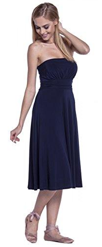 Glamour Empire. Damen Seidig Kleid Trägerlos Ausgestelltem Schlauchkleid. 129 Marine