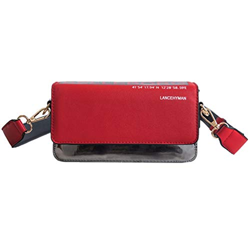 Fashion Girl Messenger Bag Texture Versatile Forest Style Small Square Bag Red