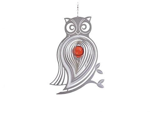 Illumino Edelstahl-Windspiel Eule Athena mit rubinroter 35mm Glaskugel